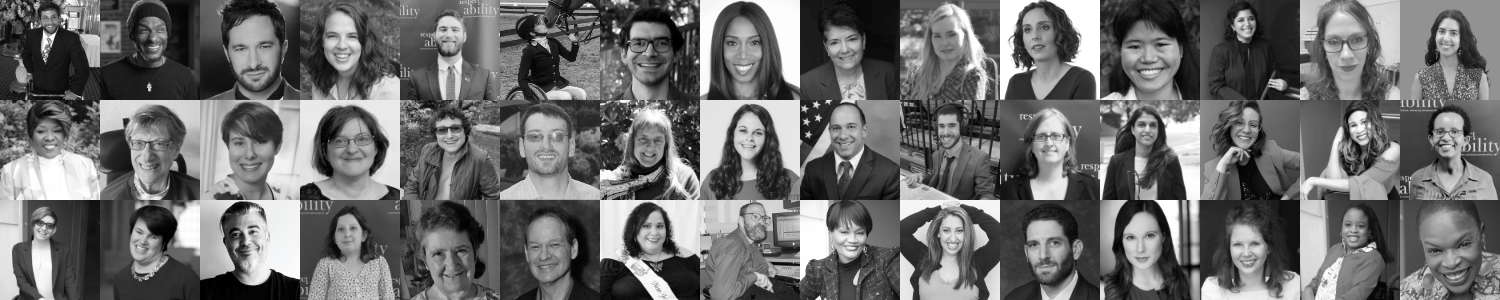 Black and white Headshots of 45 of the speakers in RespectAbility's Disability Speakers Bureau