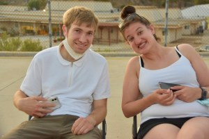 Two participants in a Shalom Institute program smile together