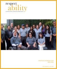 RespectAbility 2021 Strategic Business Plan cover page with a photo of RespectAbility Board members smiling together and the RespectAbility logo