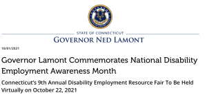 Screenshot of Connecticut NDEAM press release on the website with state seal