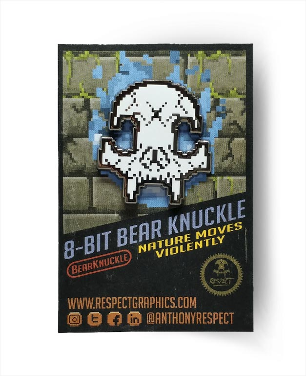 8Bit White And Black Nickel Skull Bear Knuckle Skull Logo Hard Enamel Pin By Respect