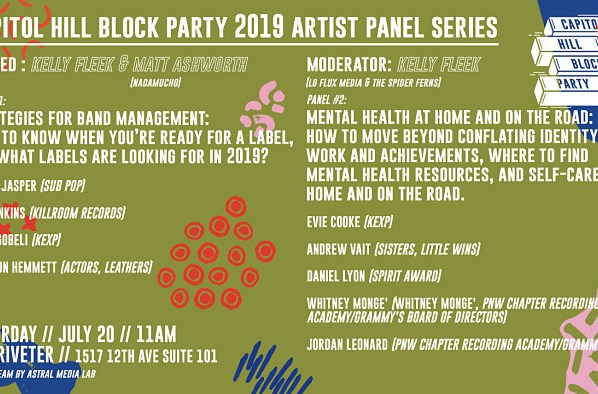The 2019 Capitol Hill Block Party Artist Panel Series Goes Down July 20th
