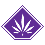 The logo for the Greenhouse Collective. A Purple pot leaf in a purple diamond.