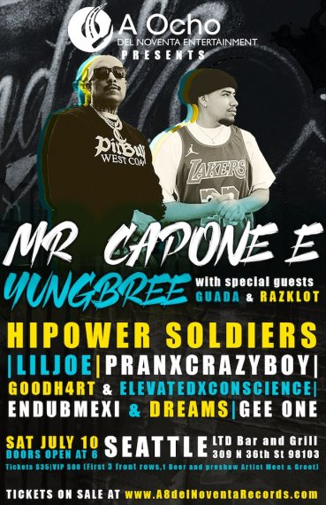 Washington Local Yungbree Performing With Mr. Capone-E as Headliners for Chicano Hip-Hop Superset