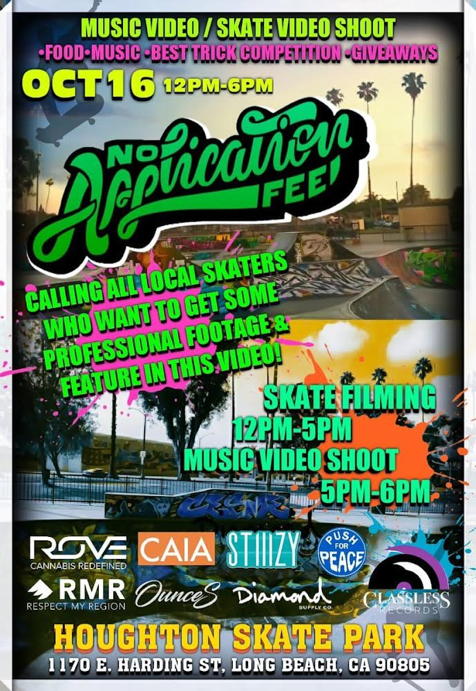 Join Local Band No Application Fee This Weekend For Skate/Music Video Shoot in Long Beach