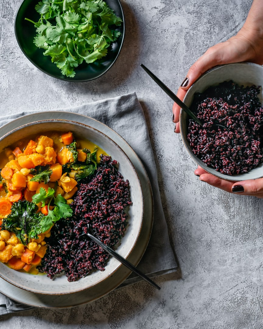 butternut squash curry with forbidden rice