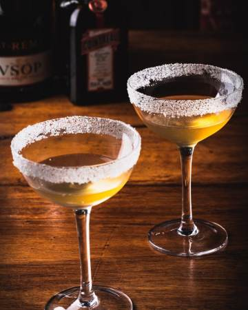 Sidecar Cocktails in two coupe glasses