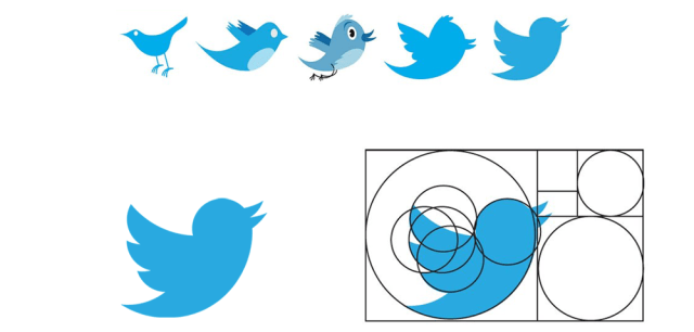 The Golden Ratio in Art, illustrated in the design of the Twitter logo