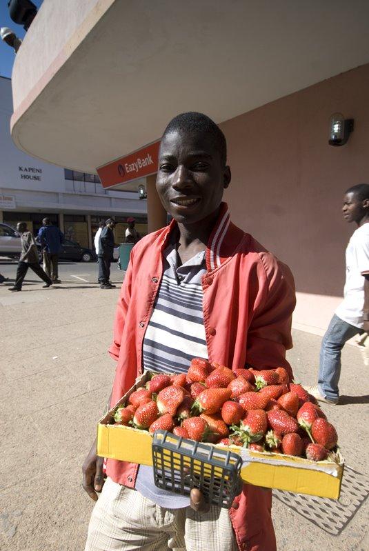 A strawberry vendor in Blantyre