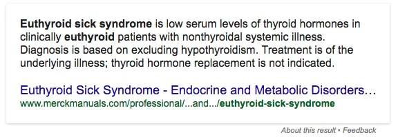 Euthyroid sick syndrome definition