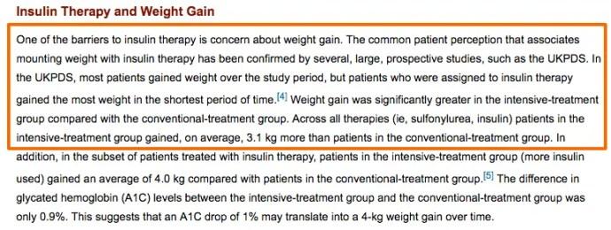 insulin associated weight gain