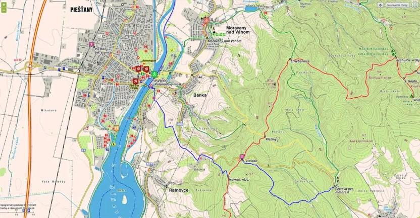 Sĺňava, Piešťany - turistické trasy/ cyklotrasy