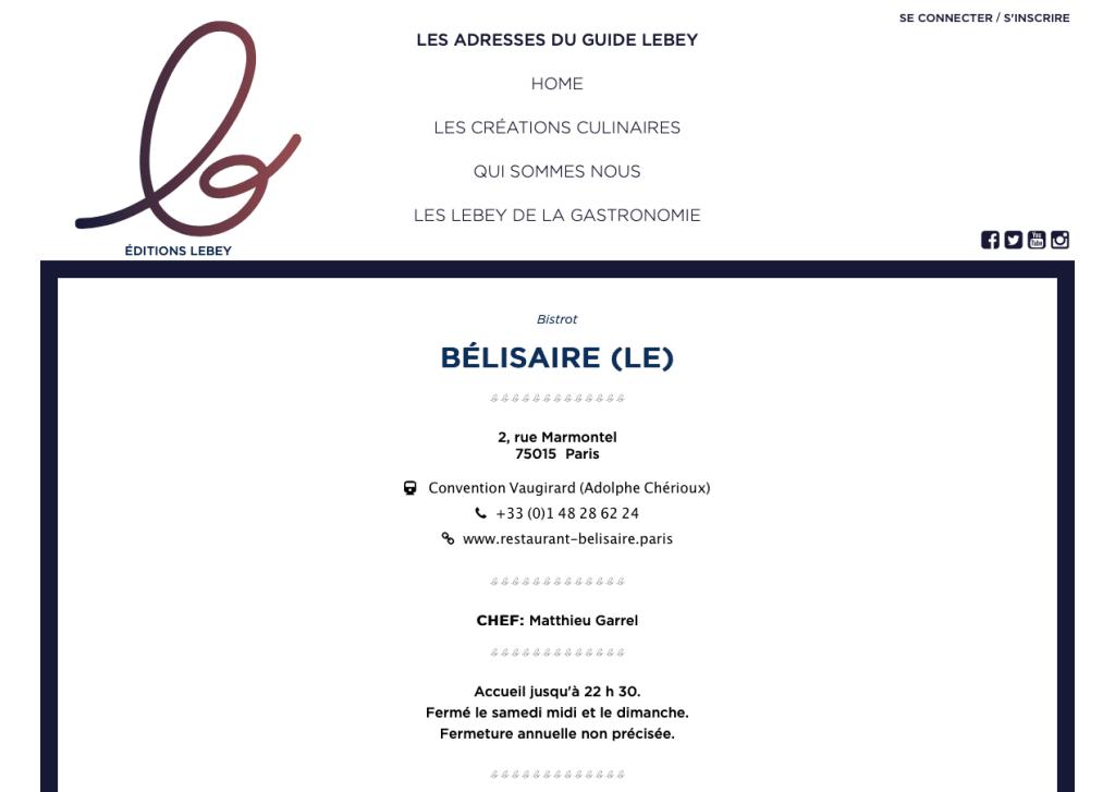 Le Bélisaire dans le Guide Lebey 2018