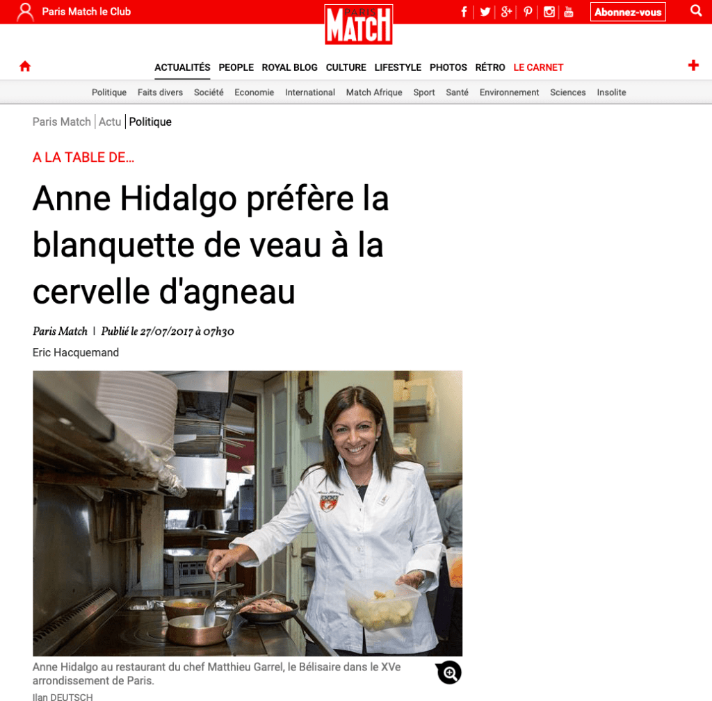 Article de Paris-Match avec Anne Hidalgo