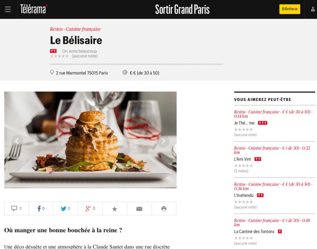 Restaurant le Bélisaire par Télérama