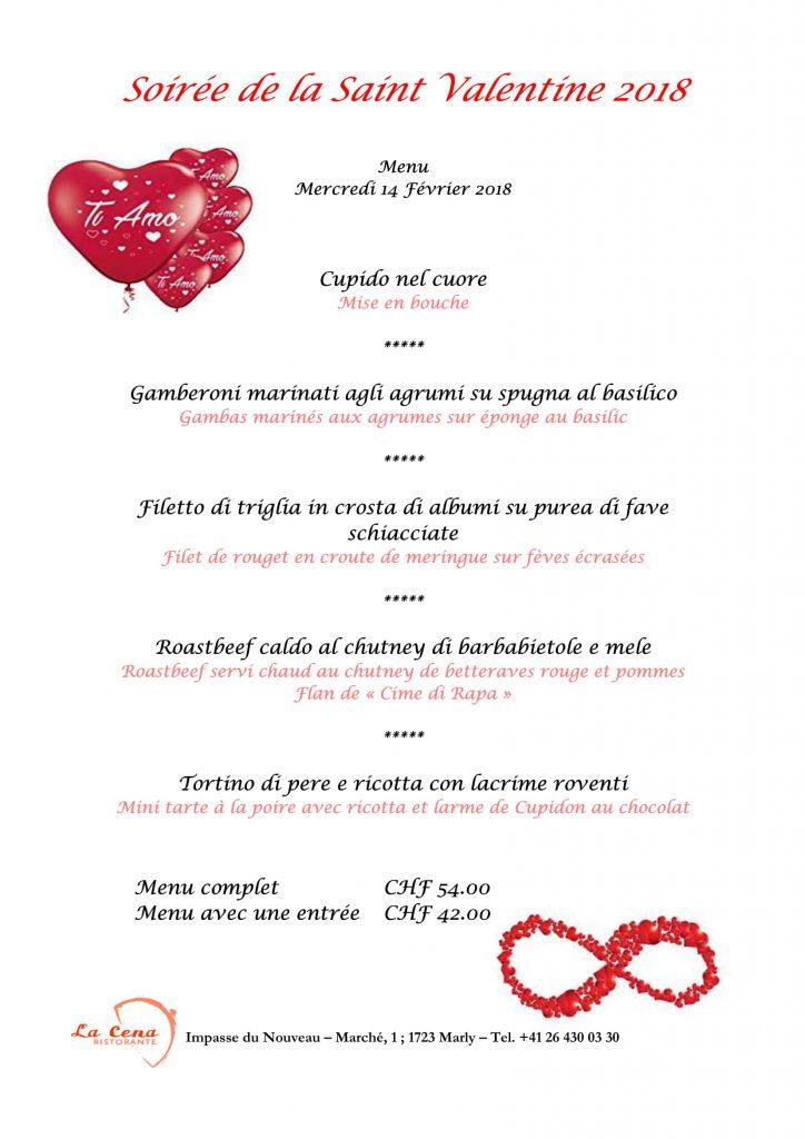 Carte Menu Saint Valentin Au Restaurant Italien Fribourg