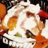 Tort de inghetata cu alune si compot de caise