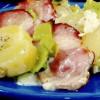 Cartofi cu praz şi afumătură la cuptor