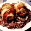 Rulouri de şalău cu salată de ceapă roşie
