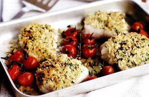 Peşte la cuptor cu cartofi prăjiţi