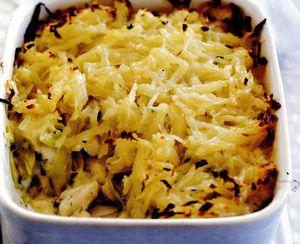 Plăcintă cu peşte şi cartofi gratinaţi