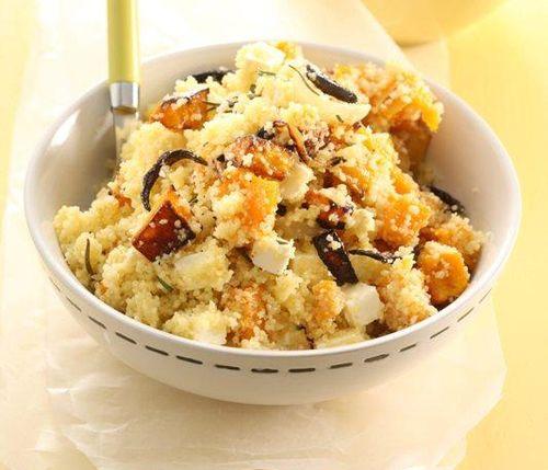 Salata de cuscus, dovleac si branza feta