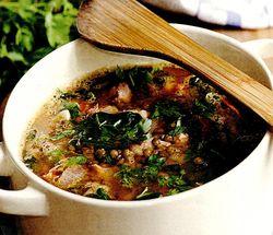 Ciorba de berbec cu legume, bors si leustean