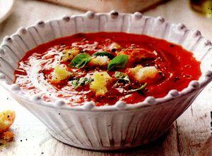 Supa de rosii cu verdeata, legume si orez