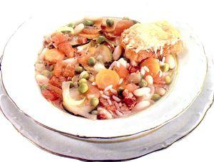 Supa de orez cu sunca