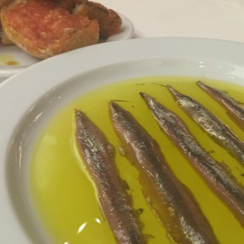 Anchoas de L'Escala con pan con tomate
