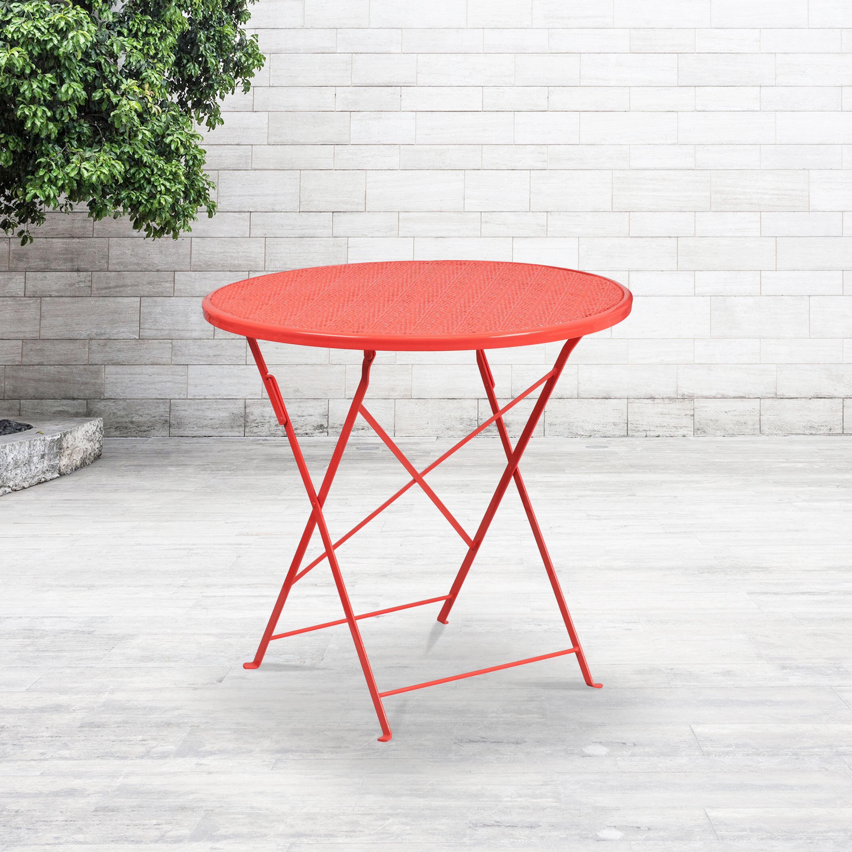 commercial grade 30 round coral indoor outdoor steel folding patio table
