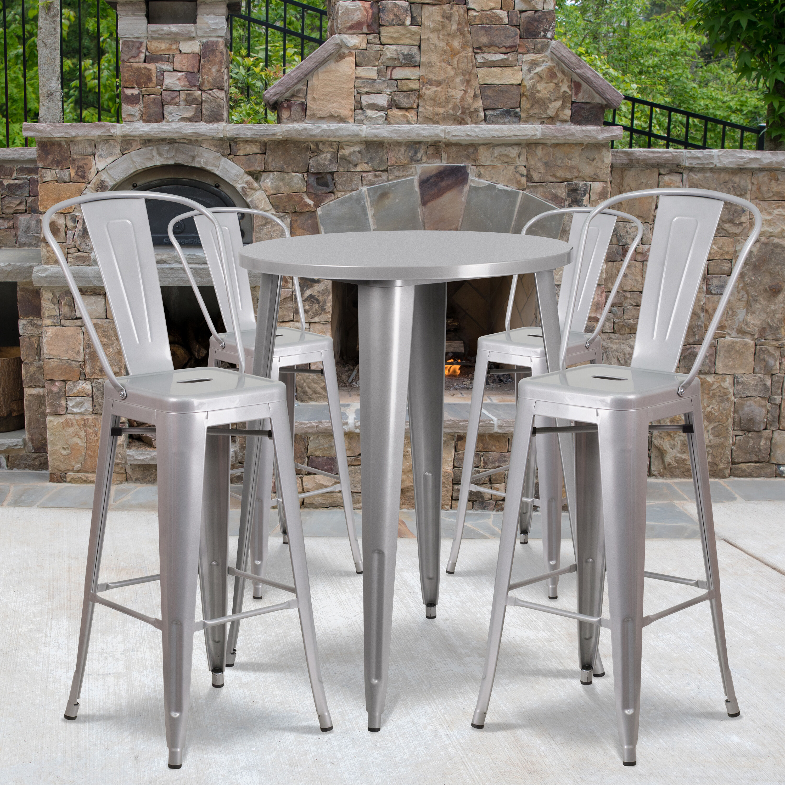 commercial grade 30 round silver metal indoor outdoor bar table set with 4 cafe stools