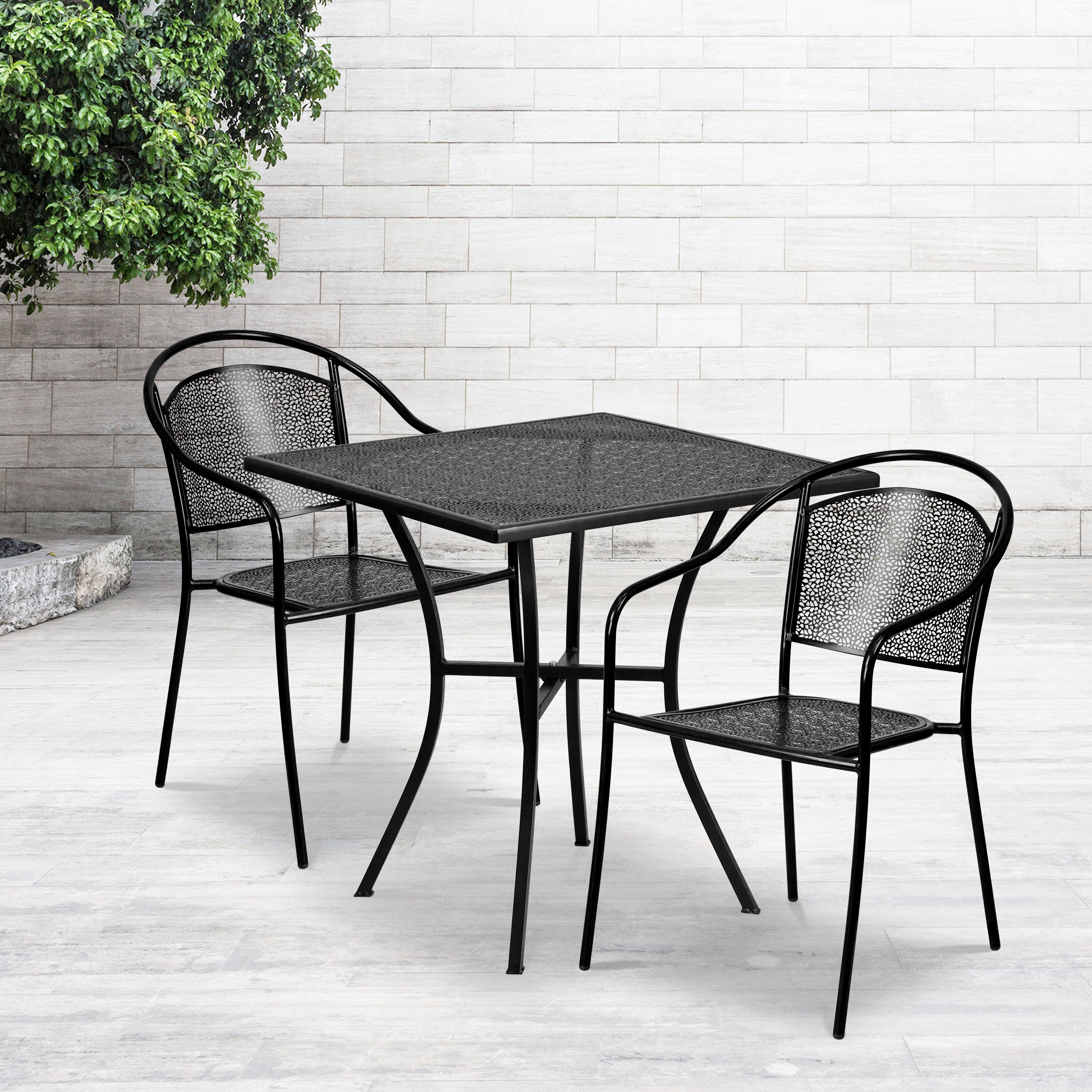 commercial grade 28 square black indoor outdoor steel patio table set with 2 round back chairs