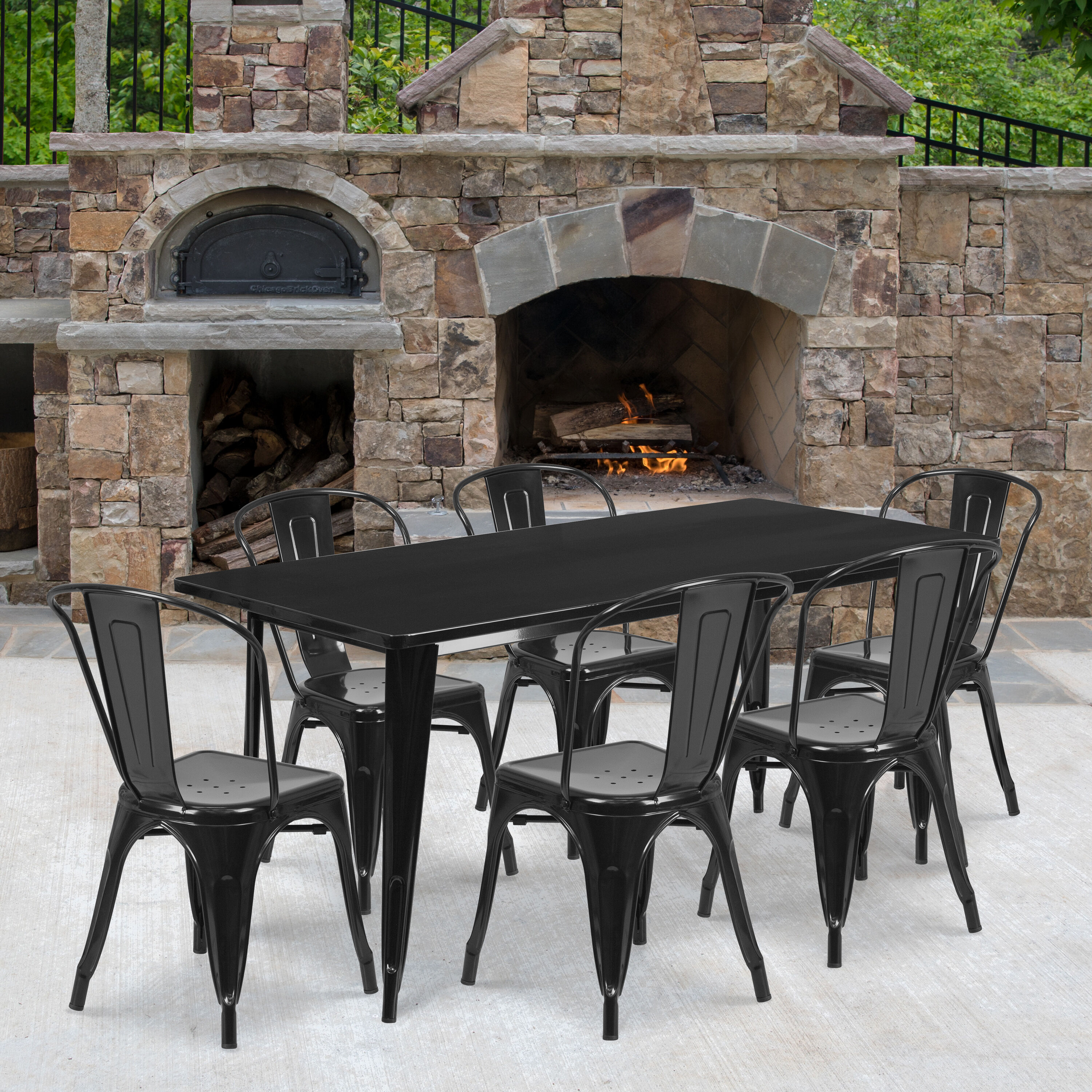 commercial grade 31 5 x 63 rectangular black metal indoor outdoor table set with 6 stack chairs