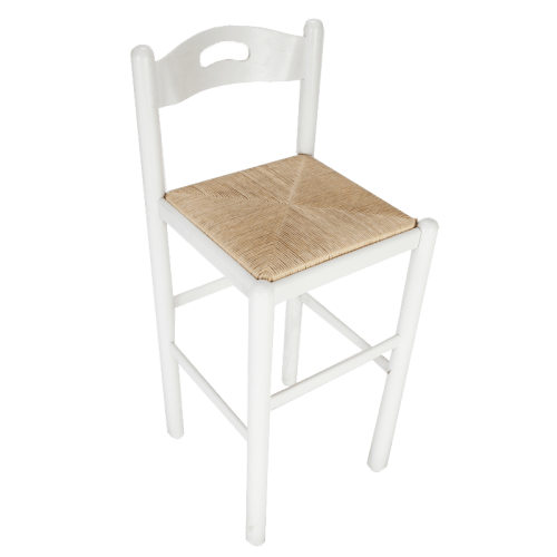 "Italian Florida 30"" Stool White with Natural Seat"