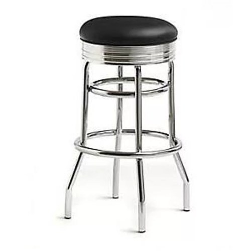 Chrome Circle Swivel Black Bar Stool