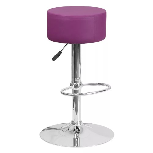 Mella Square Backless Stool With Chrome Base
