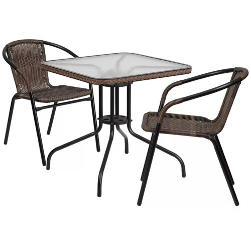 "Restaurant Glass Metal Table 28"" Square with 2 Brown Stackable Rattan Chair"