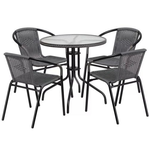 "Restaurant Glass Metal Table 28"" Round with 4 Gray Stackable Rattan Chairs"