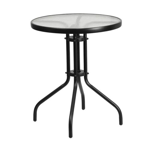 Restaurant Round Tempered Glass Metal Table 23.75""