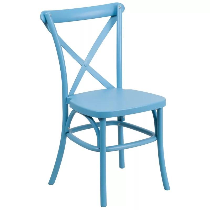Cross Back Stackable Resin Chair. FM3663BL RESIN