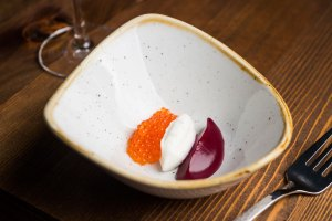 Borscht-w-raw-cream-and-trout-roe-photo