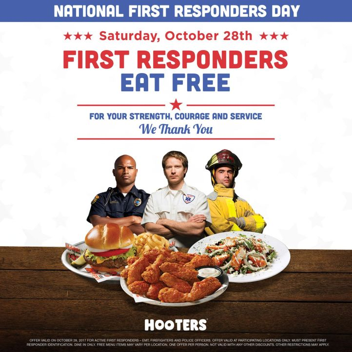 First Responders Eat Free at Hooters on October 28