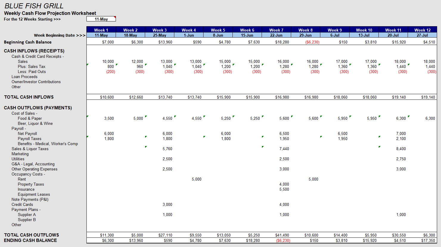 Weekly Cash Flow Worksheet
