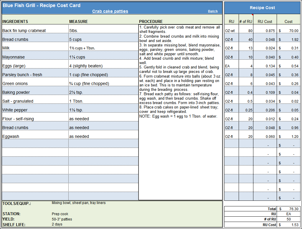 Menu Amp Recipe Cost Spreadsheet Template