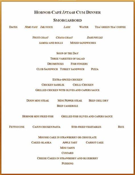 hobnob iftar menu