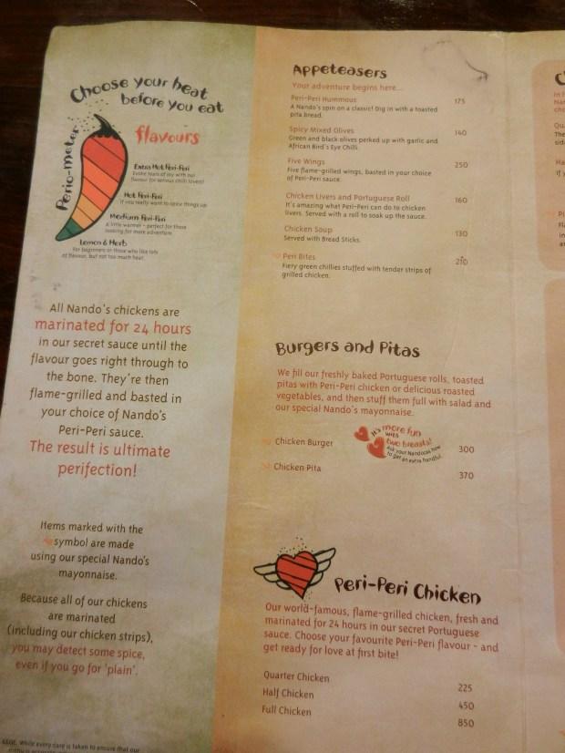Nandos menu