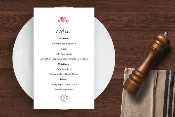 Valentine's Day - Easy to customize restaurant menu template - ASBA Creative Studio