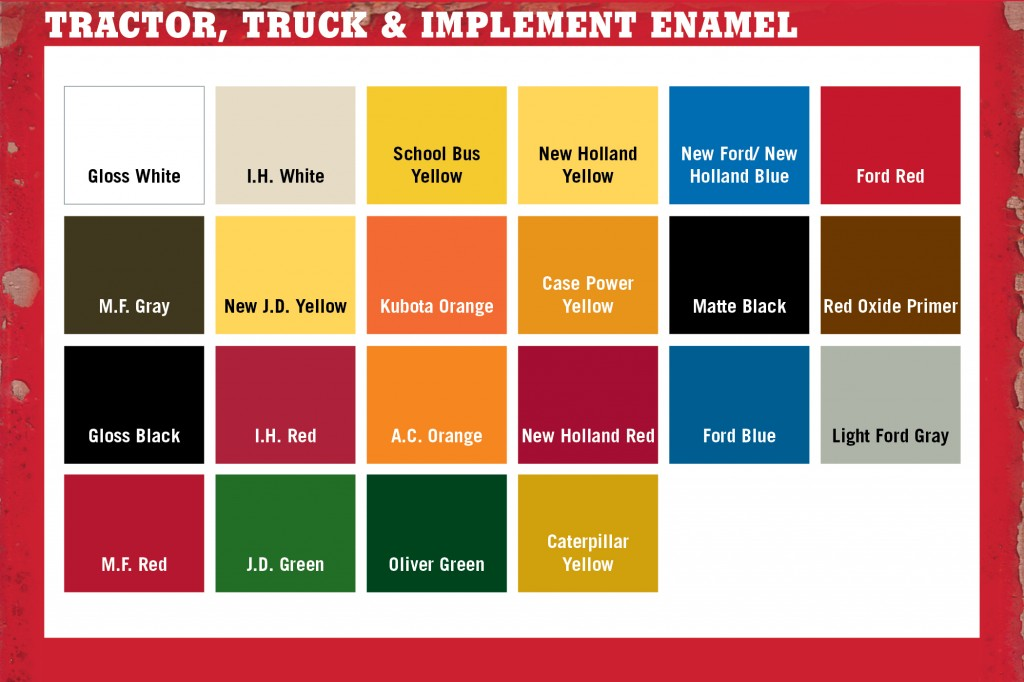 Chart of paint colors for different tractor brands. Via Majic Paints.