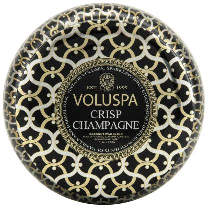 Noir Crisp Champagne 2 Wick Tin Candle By Voluspa | Restoration Yard